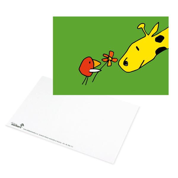 Postkarte Blume für Giraffe - Liebesgrüße Ansicht Vorderseite und Rückseite