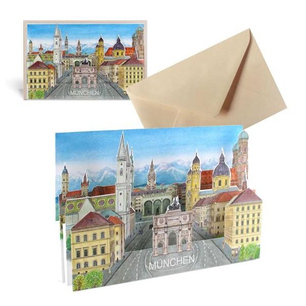 Ansichtskarte Stadt München – Pop Up 3D Grußkarte Set mit Covert