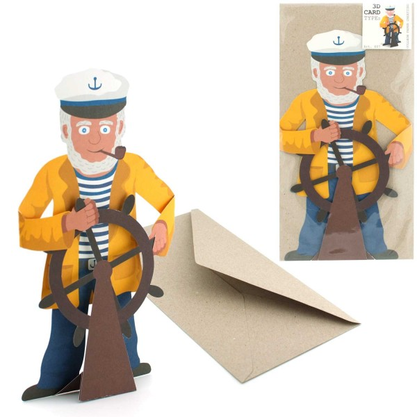 Grußkarte Kapitän - Faltkarte Set mit Couvert