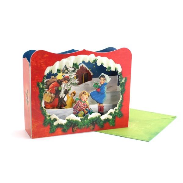 3D-Weihnachtskarte / Dioramakarte Nikolaus mit Kindern
