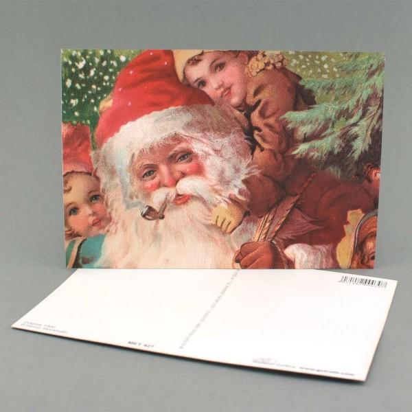 Metallicpostkarte Nikolaus mit Kindern