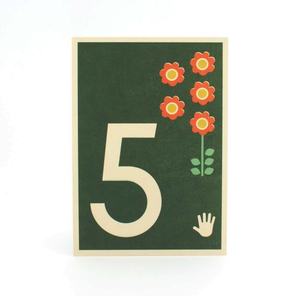 Zahlen-Postkarte 5