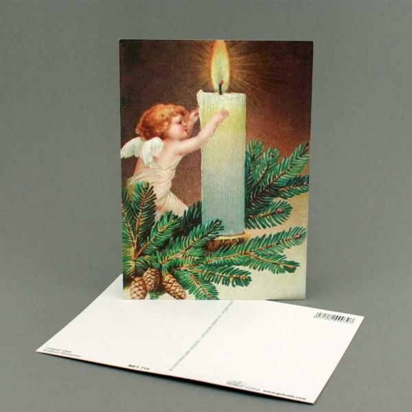 Postkarte Engel mit Kerze
