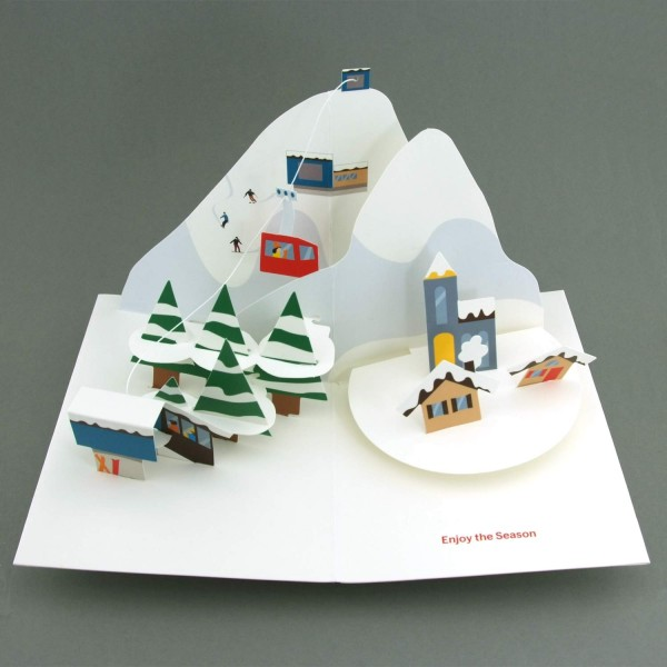 Pop-up-Karte Winterlandschaft mit Seilbahn