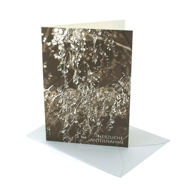 Trauerkarte Gefrorene Regentropfen, Kondolenzkarte
