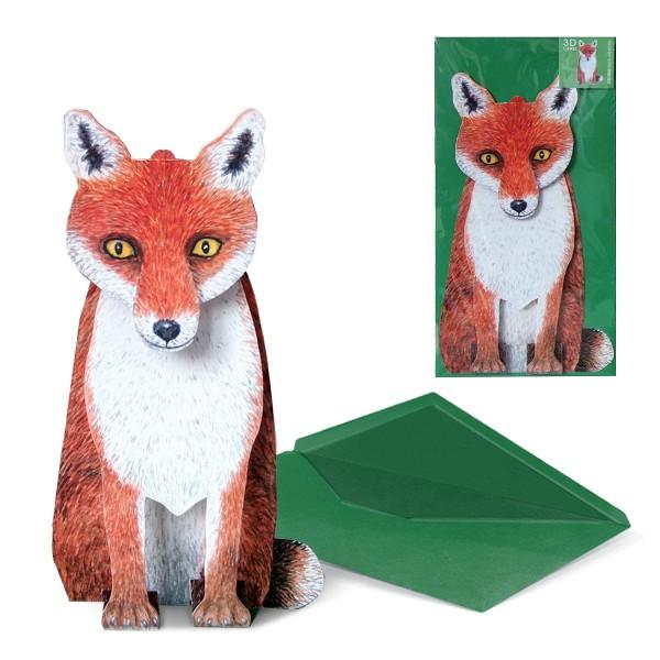 Grußkarte Fuchs - 3D Karte Tiermotiv mit DIN-lang Briefumschlag