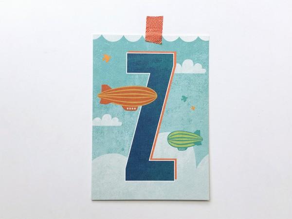 Buchstaben-Postkarte Z