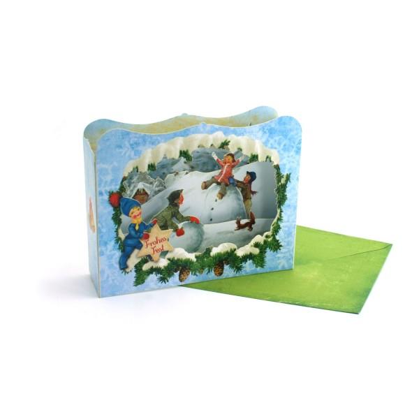 3D-Weihnachtskarte / Diorama-Karte Kinder im Schnee