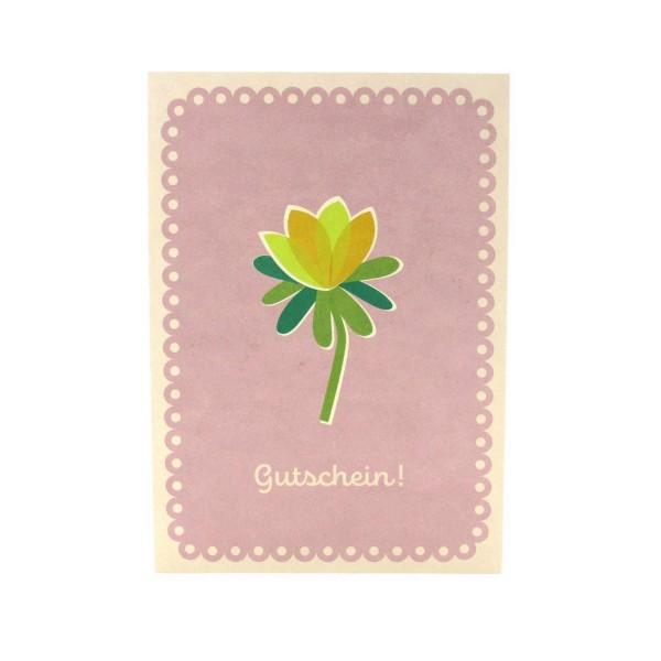 Postkarte mit einer Blume als Gutscheinkarte