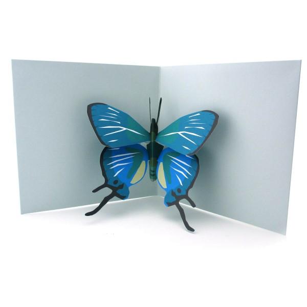 Pop-up-Karte mit einem blauen Schmetterling