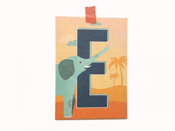 Buchstaben-Postkarte E