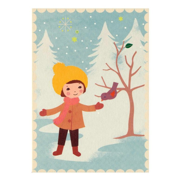 Postkarte Vogel mit Kind