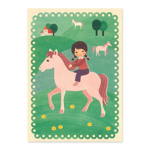 Postkarte Reiten