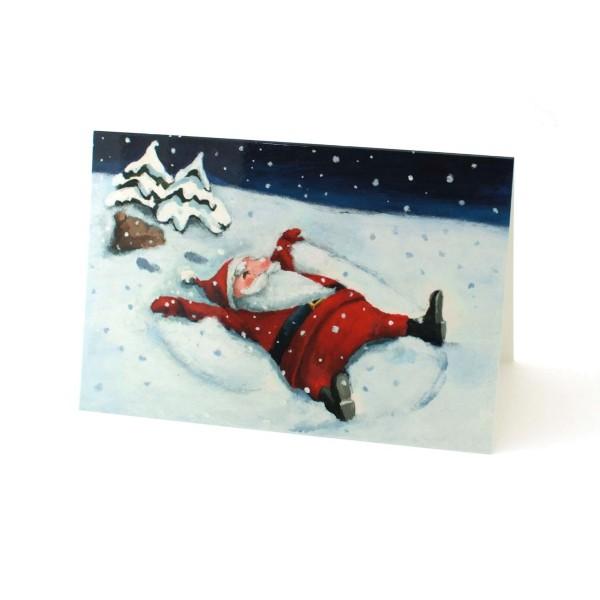 Weihnachtskarte Der Nikolaus macht den Engel