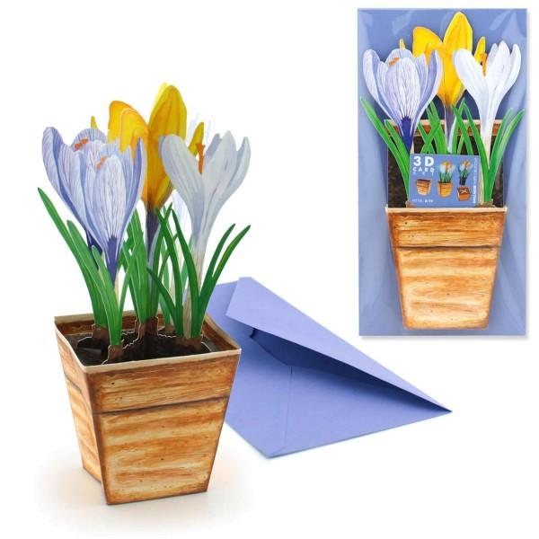 Grußkarte Ostern Krokusse - 3D A-19 Blumenmotiv Frühling Set mit Briefumschlag