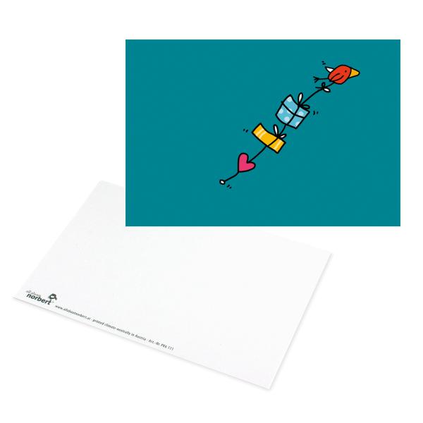 Postkarte Vogel bringt Geschenke - Grußkarte Geburtstag Ansicht Vorderseite und Rückseite
