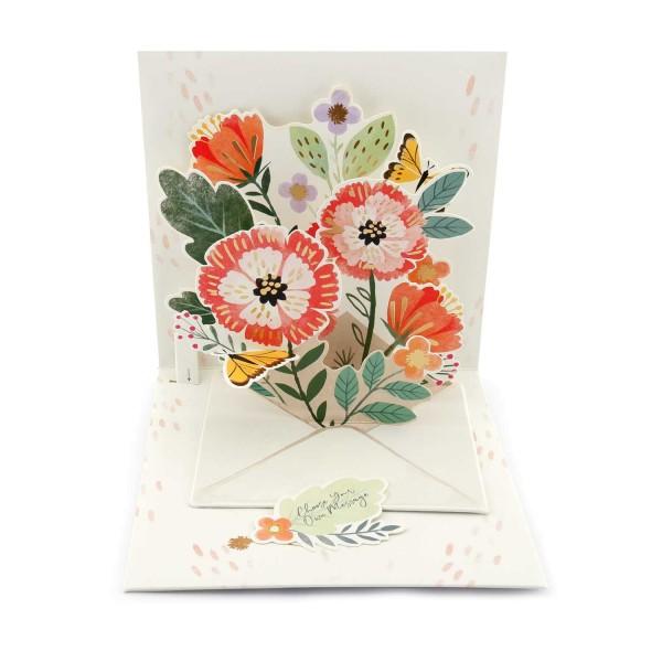 Dankeskarte Blumen und Schmetterlinge