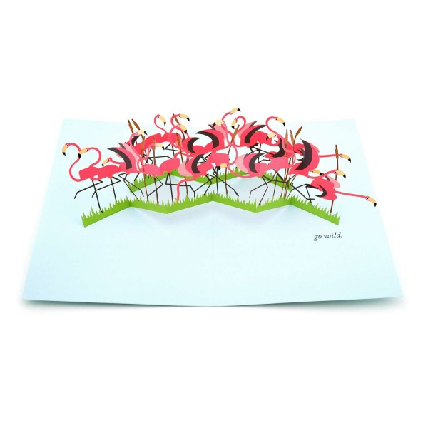 Pop-up-Karte Flamingos Go wild