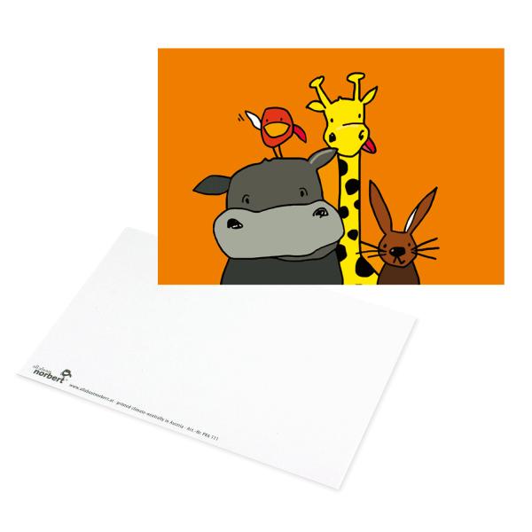 Postkarte Tierische Freunde - Grusskarte Tiere Ansicht Vorderseite und Rückseite