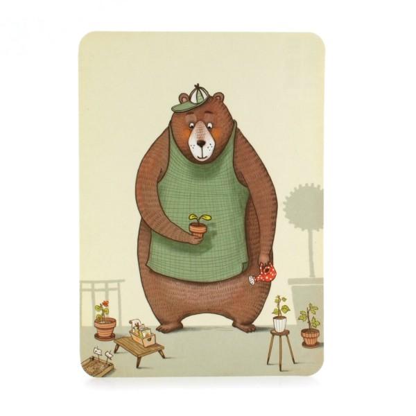 Postkarte Gärtnerbär