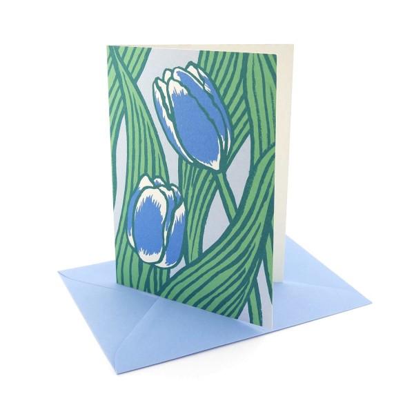 Klappkarte Blaue Tulpen