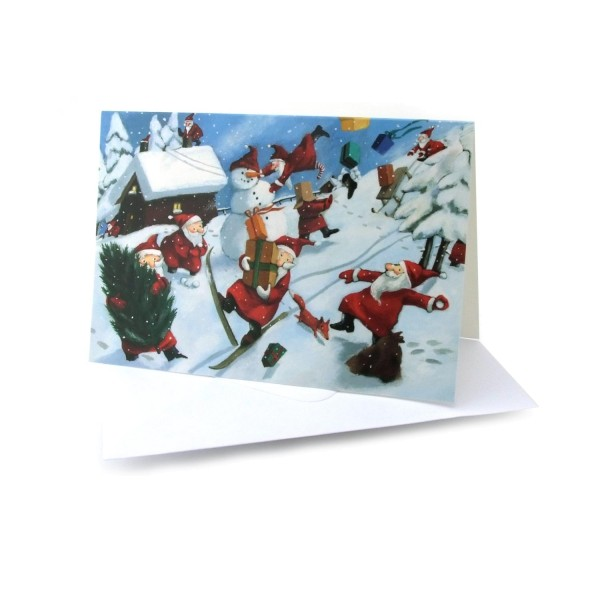 Weihnachtskarte Weihnachtsmänner im Schnee