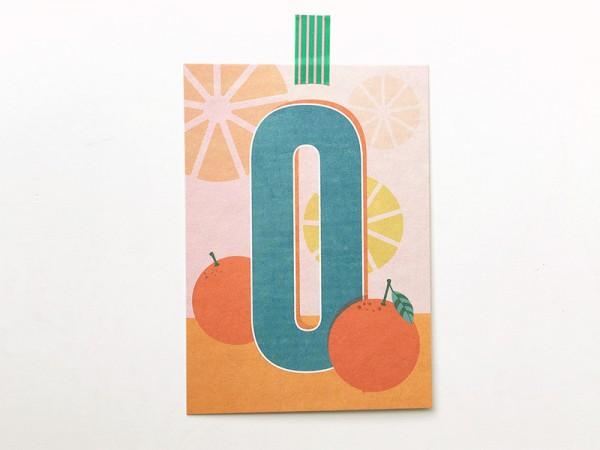 Buchstaben-Postkarte O