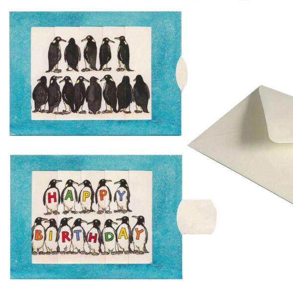 Lebende Karte mit Pinguinen