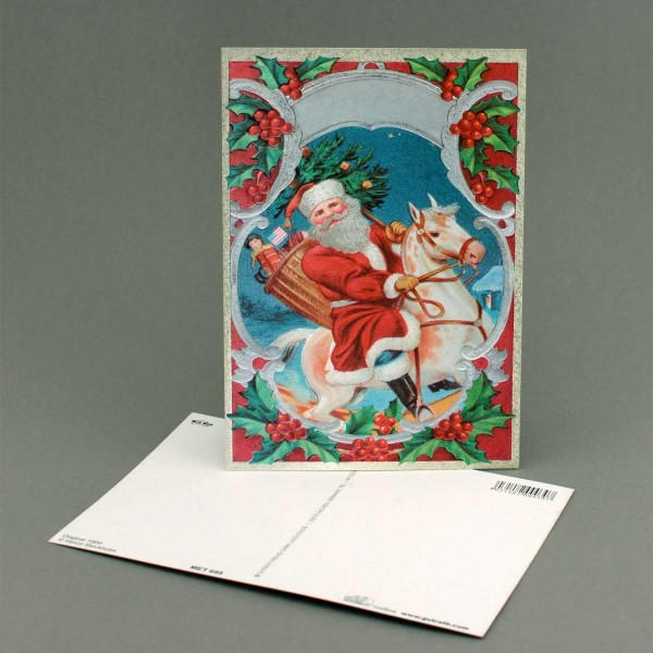 Postkarte Nikolaus auf Pferd