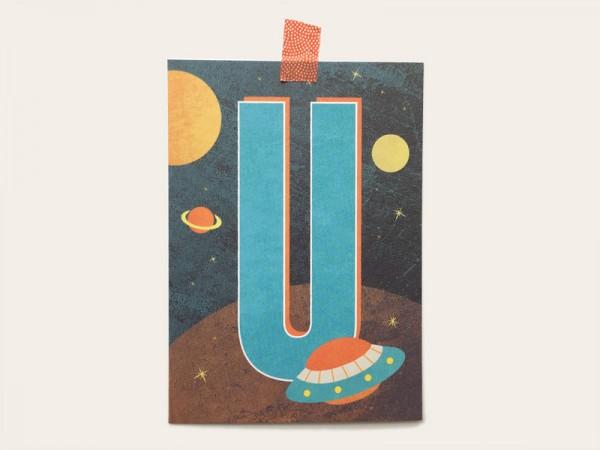Buchstaben-Postkarte U