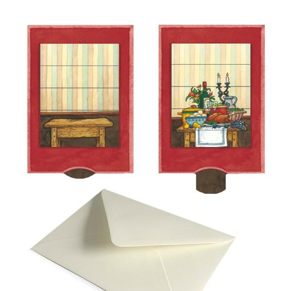 Märchenkarte Tischlein deck dich - Lebende Grußkarte mit Briefumschlag