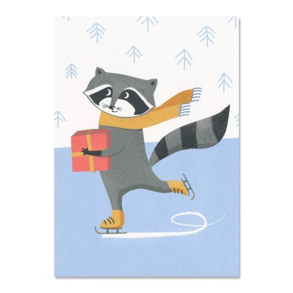 Postkarte eislaufender Waschbaer