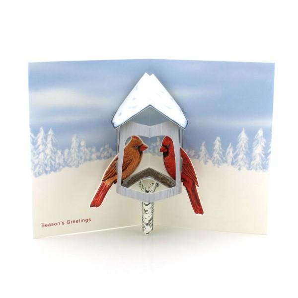 Pop-up-Karte zu Weihnachten mit Vogelhäuschen